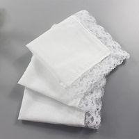 Wholesale Handkerchief Towel - Lace Handkerchiefs Square Cotton Draw Graffiti Diy Women Lady White Table for Banquet Pure Hankie Party Supplies Handkerchief Hand Towel
