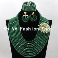 Wholesale Coral Beads Necklace Rows - african jewelry sets latest design teal 10 rows nigerian party bridal wedding coral beads choker statement bib rosary necklace jewelries G01