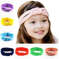 Wholesale Baby Hair Bands Braided - 12 Color Baby Cross braided Headbands NEW Girls Cute Hair Band Infant Lovely Headwrap Children Bowknot Elastic Accessories B001