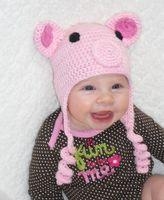 Wholesale Newborn Pig Hat - Crochet Pink Pig Hat Children Newborn Infant Toddler Knitted Hat Winter Boys Girls Kids Beanie Earflaps Halloween Christmas Caps 100% Cotton
