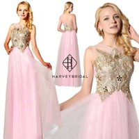 Wholesale Tank Top Prom Dresses - HarveyBridal Gold Lace Floor Length Homecoming Dresses Long 2017 Tank Top Backless White Junior Graduation Party Gowns Tulle Prom Dresses