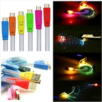 Wholesale Smiley Flat Micro Usb - Visible Micro USB V8 Charger Cable Colorful LED Light Smiley Flashing 1M Noodle Flat Charging Cords Samsung s7 s6 s5 I5 I6