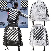 Wholesale Men S Tie Stripe Neck - Mens Off White Official 1: 1 High Quality 2017 Hip Hop Jacket New Fashion Marble tie-dye stripes Embroidery Jackets