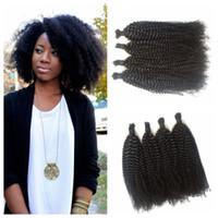 ingrosso capelli afro kinky braid capelli umani-Intrecciare i capelli umani non si intrecciano G-EASY Afro crespo malese ricci malesi capelli umani per trecciatura Nessun attaccamento