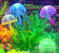 Wholesale Wholesale Fish Bowls - Fish Tank Ornament Quality Goods Fluorescence Trumpet Simulation Jellyfish Goldfish Bowl Aquarium Landscaping Silica Gel 6 Colors