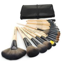 Wholesale Deluxe Makeup Brush Set - 2015 Hot Professional 24pcs Makeup Brush Set wood Makeup Brushes 24PCS Set Including a Deluxe Leather Bag