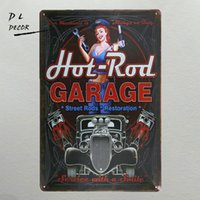 Wholesale House Rules Wall Art - DL- hot rod garage Metal Sign vintage crosses wall decor Home Decor pin up poster antique tray house rules wall art