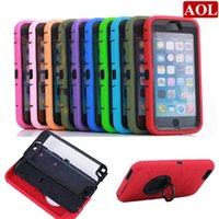 Wholesale Silicone Iphone 4s Covers - For iPhone 6 6s plus 6plus 5 5s 4 4s Rotating Ring Hard Case Phone PC+Silicone Hybrid Cases Back Cover With Screen Protector