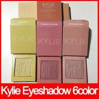 Wholesale Eyeshadow Singles - New Kylie Highlighters 6 Colors Kylie Cosmetics Waterproof Eyeshadow Brighten Natural Kylie Makeup Kylighter EyeShadow free shipping