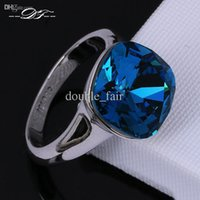 Wholesale Gypsy Chic - Unique Chic Blue Imitation Crystal Inlaid Engagement Ring Wholesale Platinum Plated Fashion Brand Crystal Jewelry For Women aneis DFR083