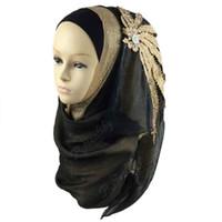 Wholesale Embellished Headbands - Silk Muslim Wedding Hijab Adult arab Print Decals with diamond Headband Islami Hijab For Women Instant Hijab Islami phwj21