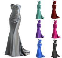 abendkleid blau silber großhandel-2018 Meerjungfrau Brautjungfernkleider Burgund Silber Grau Lila Blau Brautjungfer Kleid Abendkleider Prom Kleid
