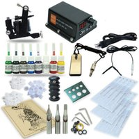 Wholesale Complete Tattoo Power - Complete Tattoo Kit 1 Machine Coil Gun Set Equipment Power Supply Foot Pedal Needles 8 Color Inks TK-36