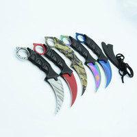 Wholesale China Hunting Knifes - Top quality China made 5 Style CSGO Karambit knife Claw knife Fixed blade knife EDC Pocket knives Necklace with ABS K sheath