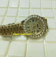 diamante suizo 18k al por mayor-Regalo de navidad suizo Relojes de lujo marca superior Automático 18K oro amarillo Presidente Pave grande Diamante Dial / Bisel