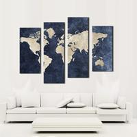 mavi arka planlar toptan satış-4 panel Tuval Duvar Sanatı Mavi Harita Bayrak Boyama Dünya Haritası Ile Mazarine Arka Plan Resim Için Tuval Üzerine Baskı Ev Dekorasyon Çerçevesiz