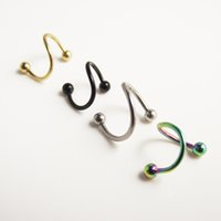 Wholesale 50pcs G Stainlessl Steel Spiral Twister Rings lip ear ring labret body jewelry promotion