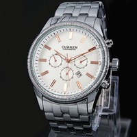 Wholesale curren black stainless steel sport watches online - 2018 New Relogio Masculino male watch Luxury Curren Celebrity White Master Date Calendar Water Resist Sports Men Watch Steel Bracelet Chain