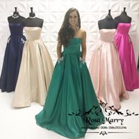 nedime zümrüt yeşili elbise toptan satış-Zümrüt Yeşil Artı Boyutu Nedime Cepler ile Elbiseler 2020 A Hattı Straplez Kristal Ülke Plaj Onur Hizmetçi Ucuz Düğün Konuk törenlerinde