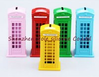 Wholesale Telephone Coin Bank - 100pcs lot British English London Telephone Booth Bank Coin Bank Saving Pot Piggy Bank Red Phone Booth Box 12-15cm