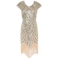 Wholesale Dress Fringes - Summer Vintage 1920s Flapper Great Gatsby Sequin Fringe Party Dress Plus Size Mesh Dress Women Clothing Vestidos De Fiesta