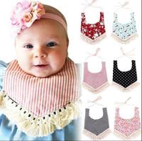 Wholesale Free Fringe - Baby Bandana Tassel Bibs INS Burps Cloths Newborn Fringe Saliva Towel Bib Burp Tassel Feeding Saliva Towel Bandana Bibs KKA2393