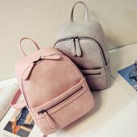 sac à dos korea achat en gros de-les femmes sac à dos nouvelle mode arrivé PU dames sacs à dos candy couleur Corée école style décontracté étudiant solide mini-sac à dos, LB1999
