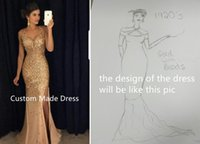 Wholesale Sparkle Halter Prom Dress - Sparkling mermaid Custom Made Evening Dresses Sexy Gold Prom Gowns