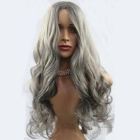 Wholesale long length hair styles online - Fashion hair style Gray Long Wave womens wig