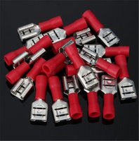 Wholesale Quick Disconnect Terminals - Hot Sale 100pcs Female 6.3mm Red Quick Spade Wire Connector Insulated Electrical Crimp Terminals Set Quick Disconnects 22-18AWG