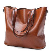 Wholesale Handbag Oil - Challen Fashion Women Handbag PU Oil Wax Leather Women Bag Large Capacity Tote Bag Big Ladies Shoulder Bags Famous Brand Bolsas Feminina