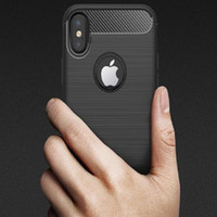 Wholesale Cellphone Covers Free Shipping - cellphone cases For iPhone x iphone 7 7s 6 6s plus Shockproof Soft TPU Carbon Fiber Brushed Silicone Back Cover free shipping