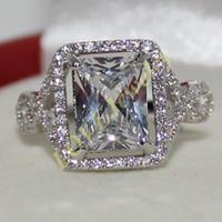 Wholesale Statement Diamond Ring - Women's 925 Solid Silver Simulated Diamond CZ Pave set Statement Ring