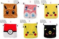 Wholesale Drawstring Coin Purse - Children 20*15cm poke cartoon plush drawstring bags Kid High-capacity Coin Purse Pikachu Receive bag 8 styles EMS C1123