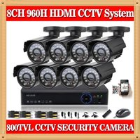 Wholesale Dvr 8ch 8pcs - CIA- 8CH CCTV System HDMI DVR 8PCS 800TVL IR Outdoor Weatherproof CCTV Camera 24 LEDs Home Security System Surveillance Kits NO HDD