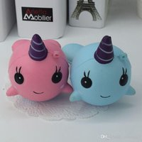 Wholesale Soft Toy Drop Shipping - 2017 NEW Kawaii Whale Squishy Cartoon Ballchains Soft Fun Toy Slow Rising Collect Blue Pink Support Drop Shipping