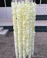 ingrosso orchidee lunghe fiori-White Orchid artificiale Wisteria vite del fiore di 2 metri Corone lunghi di seta per il contesto di cerimonia nuziale Decoration ripresa Props 30pcs / lot
