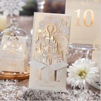 Wholesale Church Wedding Invitation - 2016 High Quality Gorgeous Wedding Invitations Cards Church pattern Hollow process With Free envelopes lazer cut envelope