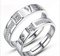 Wholesale Engage Rings - Free Shipping Couples Ring 925 Sterling Silver Wedding Ring Engaged Rings A Pair Of Ring Couple Ring Can Adjust Ring Size Colour Silver