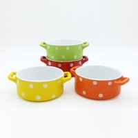 cerámica redonda roja al por mayor-Polka Spot Dot Ramekin de cerámica Postre Pudding Bowl con dos orejas Redondo Mini Cazuela Souffle Baking Cup Rojo Amarillo Naranja Verde