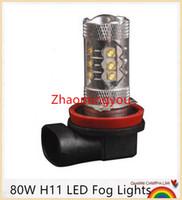 ingrosso osram ha condotto le luci di nebbia-10 Pz / lotto 80 W H11 Osram Chip High Bright 16x LED Fendinebbia Lampada Daytime Running Light DRL