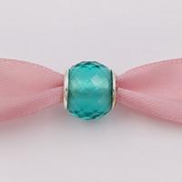 pandora murano verre perles vert achat en gros de-Authentique perle en argent Sterling 925 petites facettes perle de verre vert s'adapte aux bijoux de style Pandora de style européen Bracelets Collier Murano 791499SGQ