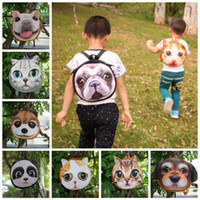 3D Cute Cat Dog Face Mochilas Cat Dog Animal Pattern Niños Bolsos Monedero 10 Estilos LJJO3325