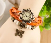 Wholesale Usa Leather Wrist - Europe and the USA Korean authentic fashion student wrist watch Women tide retro ancient ways bracelets table, female butterfly watches