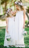 Wholesale free kids pageant dresses - Bohemian Flower Girls Dresses Free Shipping 2018 Halter Summer Beach Kids Girl's Pageant Dresses Backless Little Gilrs Flower Girl Dresses