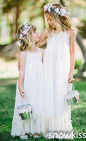 niñas vestidos bohemios al por mayor-Bohemian Flower Girls Dresses envío gratis 2018 Halter Summer Beach niños vestidos de niña vestidos Backless Little Gilrs vestidos de niña de las flores
