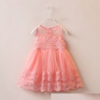 Wholesale Tiered Ruffle Sundress - 2016 New Girl Dress Children Kids Tiered Lace Gauze Princess Dress Girl Summer Sundress 1-6Y 309579