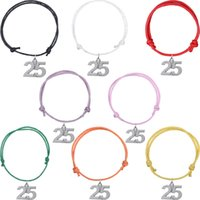 Wholesale Number 25 Charms - Fashion Free Adjust Wax Cord Bracelets Silver Plated Number 25 Pendant Bangle Youngsters Wristbands For Gift Jewelry