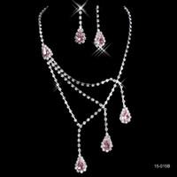 Wholesale purple bridal jewelry sets pearl - 15015B Fashion Cheap In Stock Elegant Wedding Bridal Prom Rhinestone Pearlsl Jewelry Necklace Earring Set Hot Sale