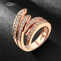 Doble Fair Love Angle's Wing CZ Diamond Ring Rose Gold / Silver Plated Fashion Party / Joyería de la boda para las mujeres Anel DFR115